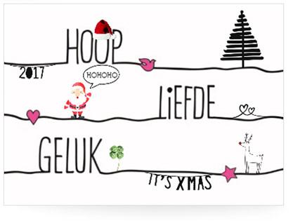 Voorbeeld 5 van zelfgemaakte kerstkaart met tekst en decoraties - voorkant