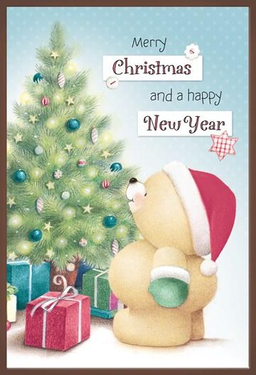 - Kerstkaart-chocolade-Forever-Friends-beer-met-kerstboom