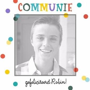 Communie kaart - communie-kaart-met-gezellige-en-feestelijke-confetti-stipjes
