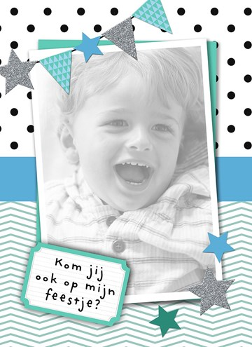 Uitnodiging maken - vrolijke-blauw-groene-uitnodiging-voor-kinderfeestje