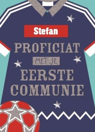 Communie kaart - sportieve-eerste-communie-kaart-met-voetbaltenue