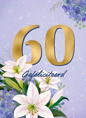 - Verjaardagskaart-klassiek-60-jaar-vrouw-gouden-letters-en-bloemen