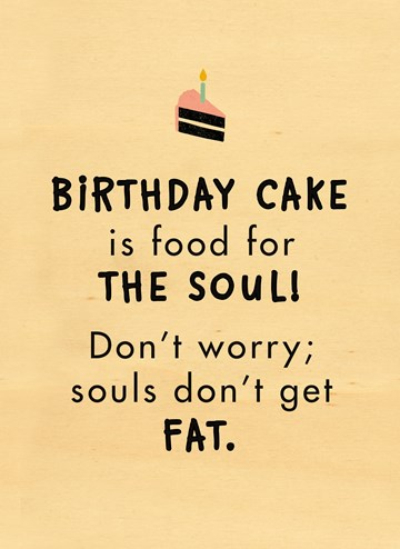 verjaardagskaart vrouw - houten-kaart-birthday-cake-is-food-for-the-soul