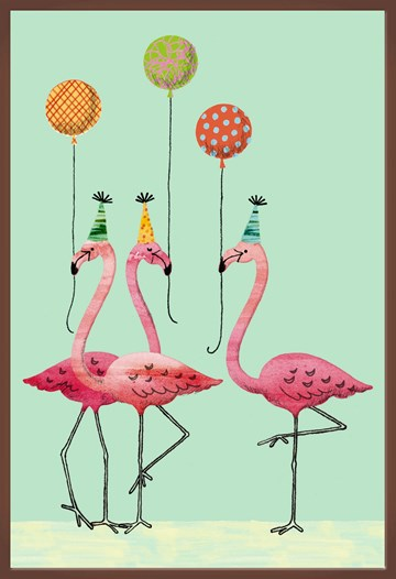 Verjaardagskaart vrouw - flamingos-met-ballonnen