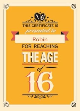 Verjaardagskaart leeftijden - jarig-16-leeftijd-zestien-jaar
