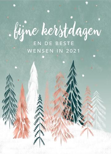 - Kerstkaart-zakelijk-Gekleurde-kerstbomen
