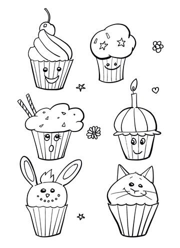 - Kleurplaat-kaart-kind-cupcakes-taartjes-vrolijk-Corona-ziek-thuis-virus-griep-sporta