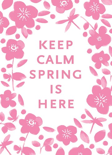 Lente kaart - leuke-roze-bloemetjes-met-de-lente-tekst-keep-calm-spring-is-here