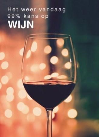 verjaardagskaart vrouw - het-weer-vandaag-99-procent-kans-op-wijn