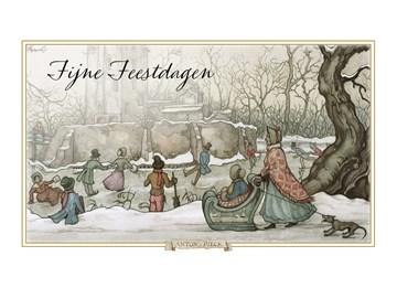 - Anton-Pieck-kerstkaart-schaatsen-op-ijs