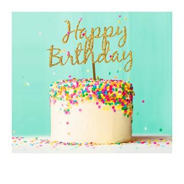 - Verjaardagskaart-vrouw-Vrolijke-taart