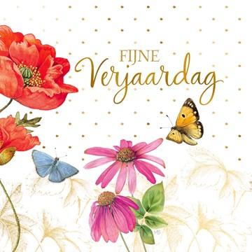 - Kaart-flowers-by-Marjolein-Bastin-Fijne-verjaardag-klaproos-vlinder