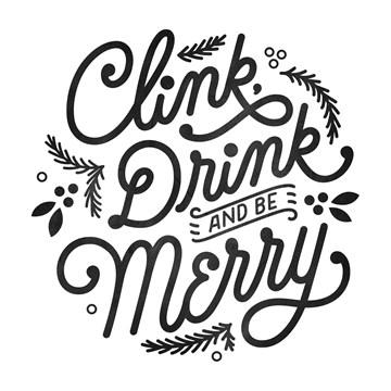 Kerstkaart - clink-drink-and-be-merry