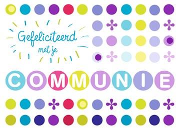 Communie kaart - een-kleurig-communiefeest