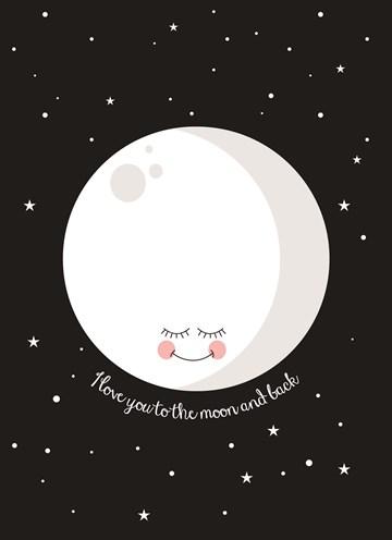 Liefde kaart - Vriendschapskaart - love-you-to-the-moon-and-back-black