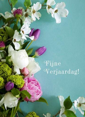Zakelijke verjaardagskaart - boeket-met-witte-en-paarse-bloemen