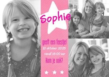 - fotokaart-kinderfeest-meisje-roze