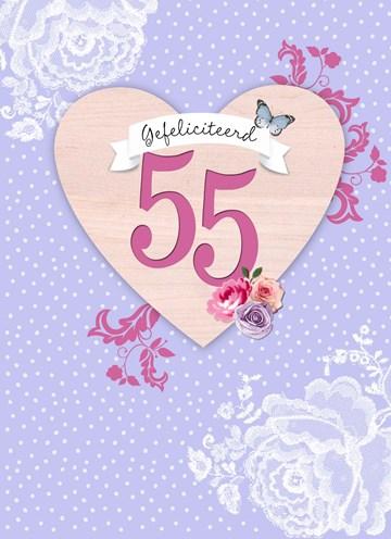 Verjaardagskaart leeftijden - hart-vijfenvijftig-gefeliciteerd