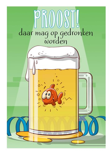Gefeliciteerd kaart - felicitatiekaart - cartoon-vis-in-bierpul