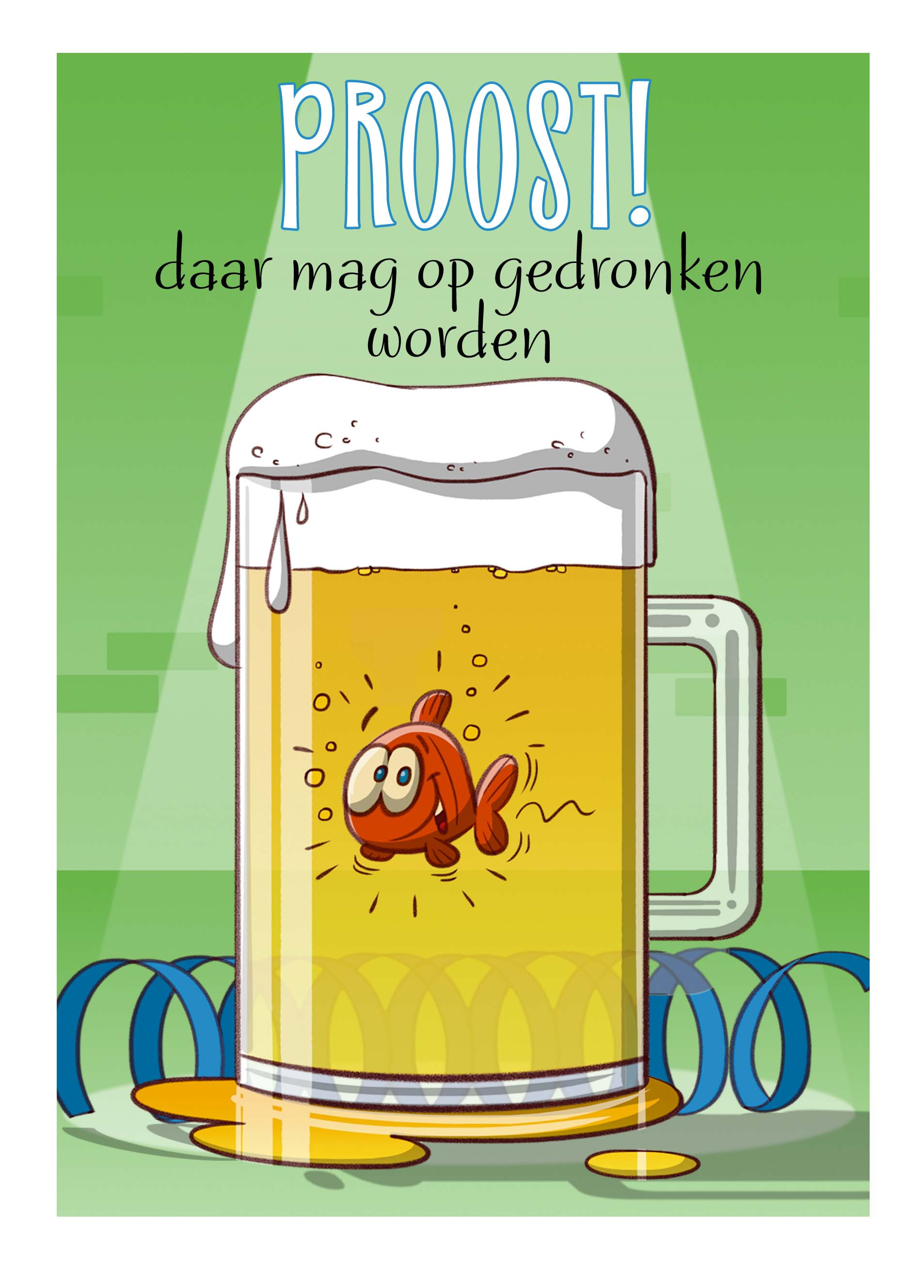 Verjaardag Man Vissen.Cartoon Vis In Bierpul