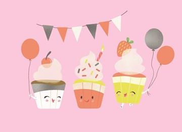 verjaardagskaart meisjes - slingers-ballonnen-en-cupcakes