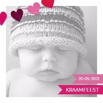 Uitnodiging maken - geboorte-kaart-meisje-met-roze-hartjes-slinger