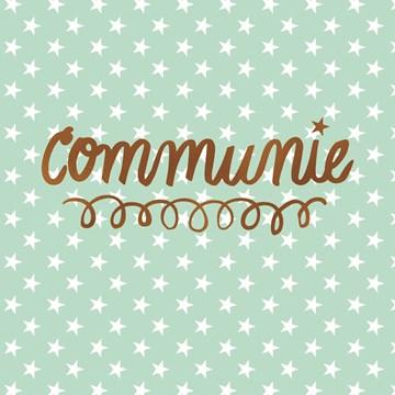 Communie kaart - communie-mint-groen-met-witte-sterretjes