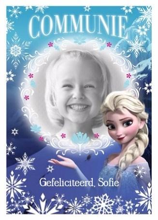 Communie kaart - een-echte-princessen-felicitatie-van-elsa-met-je-communie-