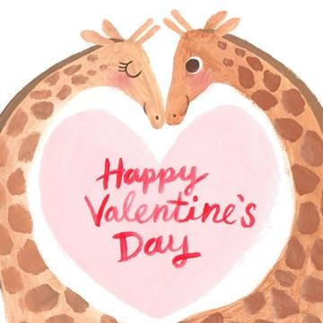valentijnskaart - Valentijnskaart-romantisch-giraffe-happy-Valentines-day