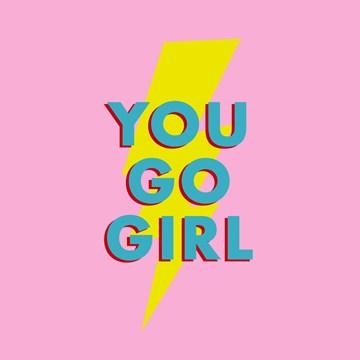 succes goed gedaan kaart - you-go-girl-lightning