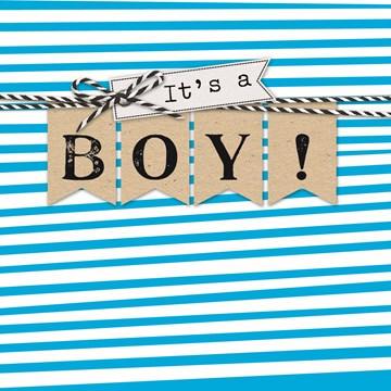 Geboortekaartje - strepen-its-a-boy