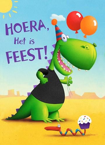 verjaardagskaart jongen - -krokodil-hoera-het-is-feest