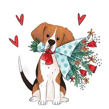 - Valentijnskaart-Getekende-hond-met-bos-bloemen