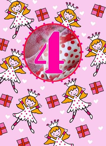 Verjaardagskaarten leeftijd - 4-jaar-meisje-ballerina