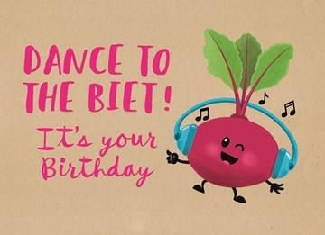 Verjaardagskaart vrouw - dance-to-the-biet