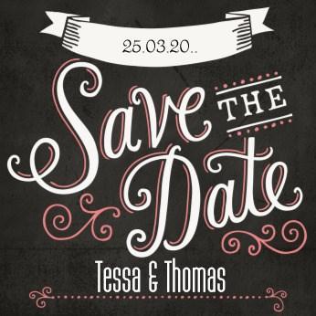 Uitnodiging maken - krijtbord,-save,-the,-date,-uitnodiging,-roze,-label,-wit,-zwart,-liefde