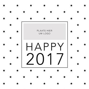 Zakelijke nieuwjaarskaart - fotokaart-vierkant-sterretjes-happy-2017