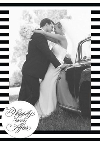 Huwelijkskaart met foto - fotokaart-huwelijk-happily-ever-after-zwart-wit