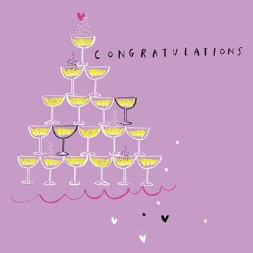 Huwelijkskaart - Champagnetoren-in-paars
