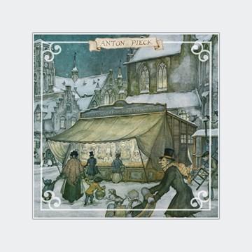 Winterkaart - markt-kraam-winter