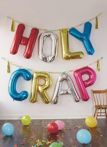 Te laatkaart - party-decorations-kaart-met-de-tekst-holy-crap