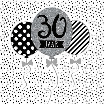 verjaardagskaart man - Verjaardag-dertig-grijs