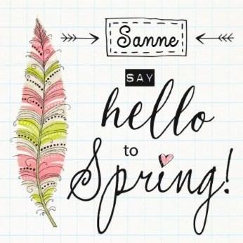 Lente kaart - hello-to-spring-met-een-mooie-kleurijke-veer