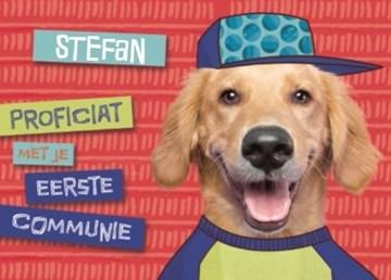 Communie kaart - hippe-communie-kaart-proficiat-met-je-eerste-communie-labrador