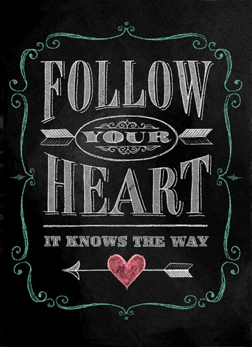 Afscheidkaart - follow-your-heart-krijtbord