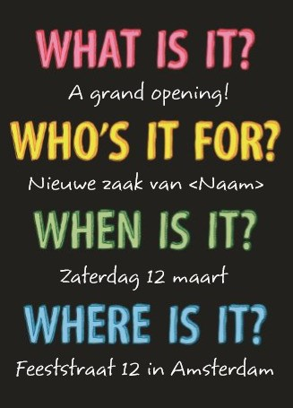 Uitnodiging maken - what-who-when-where-