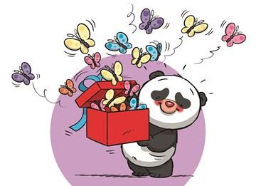 Funny Mail kaart - funny-mail-blanco-pandabeer-met-vlinders