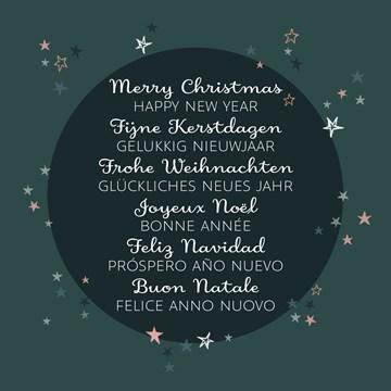 Kerstkaart - meertalige-kerst-met-sterren