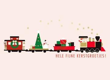 Kerstkaart - kerstkaart-trein-fijne-kerstgroetjes