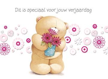verjaardagskaart vrouw - beer-met-vaas-bloemen